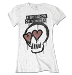 T-shirt 5 seconds of summer Heart Skull da donna