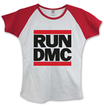Run Dmc - Logo WHITE,RED (T-SHIRT Donna )