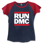Run Dmc - Logo BLUE,RED (T-SHIRT Donna )
