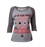 Playstation - Female Raglan Grey (T-SHIRT Donna )