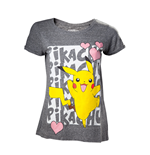 Pokemon - Pikachu Love Grey (T-SHIRT Donna )