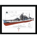 Stampa In Cornice World Of Warships - Atago - 30x40 Cm