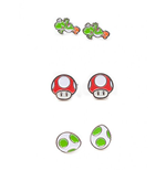 Nintendo - Set Of 3 Pair Studd Earrings With Yosi, Egg And Mushroom Studd Earrings F Multicolor