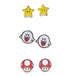 Nintendo - Set Of 3 Pair Studd Earrings Boo, Superstar And Mushroom Studd Earrings F Multicolor
