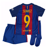 Mini Kit Barcellona Home 2016/17 da bambino (Suarez 9)