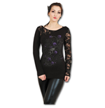 Spiral - Entwined Skull - Lace One Shoulder Black (maglia Manica Lunga Donna )