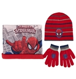 Set 3 pezzi - guanti, scaldacollo e cappello Spiderman