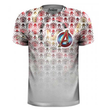 Marvel Comics - Avengers Icons Pattern Pocket Logo (T-SHIRT Unisex TG. 2)
