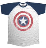 Marvel Comics - Raglan Baseball Avengers Assemble Distressed Shield (T-SHIRT Unisex )