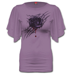 Spiral - Black Rose Dew - Boat Neck Bat Sleeve Purple (T-SHIRT Donna )