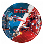 Captain America - Civil War - 8 Piatti Carta 20 Cm