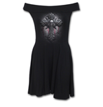 Spiral - Crucifix Bardot Neck Skater Dress (abito Donna )