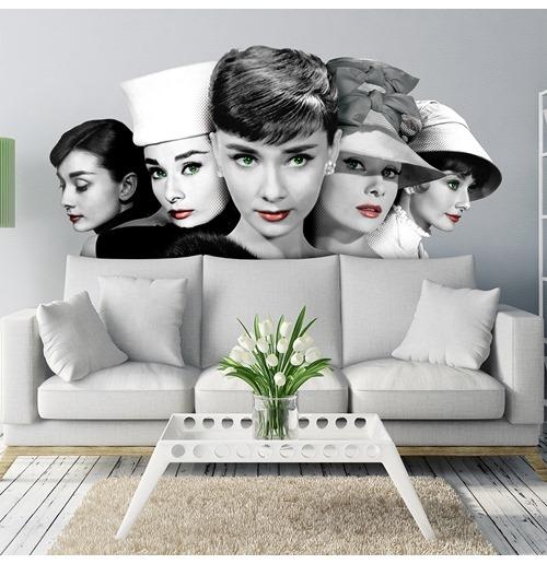 Adesivi Murali Audrey Hepburn.Acquista Murales In Tessuto Adesivo Audrey 5 Volti Originale
