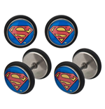 Superman - 18G Stainless Steel Screw Back With Logo Fronts (Orecchini)