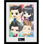 Ace Attorney - Chibi (Stampa In Cornice 30x40 Cm)