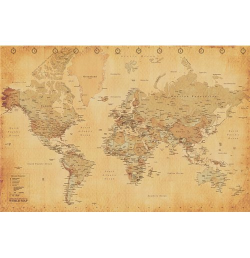 acquista world map vintage style poster maxi 61x91 5 cm originale. Black Bedroom Furniture Sets. Home Design Ideas