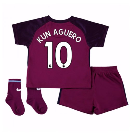Kit da calcio per neonato Manchester City 2017-2018 Away (Kun Aguero 10)