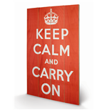 Keep Calm And Carry On (Stampa Su Legno 76X45Cm)