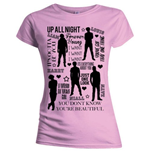 T-shirt One Direction da donna - Design: Silhouette Lyrics Black on Pink