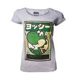 Super Mario - Japanese Yoshi Poster Grey (T-SHIRT Donna )