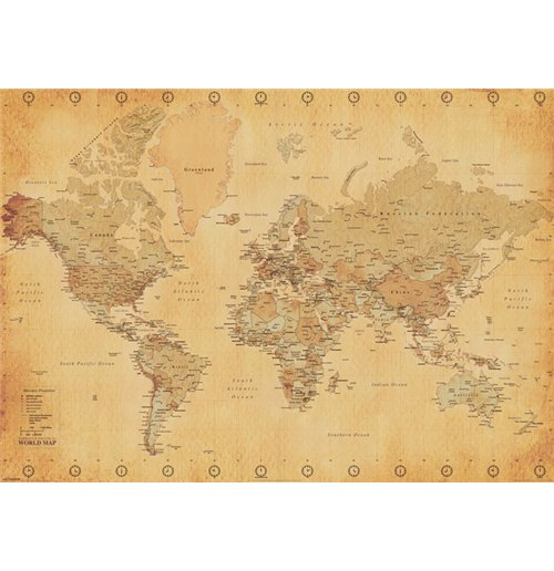 World Map - Vintage Style (Poster 100X140 Cm)