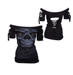 Alchemy - Aea Top Kork Snake Skull - Black (top Donna )