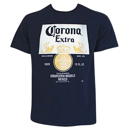 T-shirt Corona Distressed Bottle Label Logo