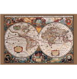 17Th Century World Map - Gold Ink (Poster Maxi 61X91,5 Cm)