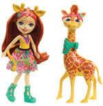 Mattel FKY74 - Enchantimals - Bambola + Amico Cucciolo Large - Gillian La Giraffa