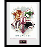 Stampa In Cornice Harry Potter - Hogwarts Water Colour - 30x40cm