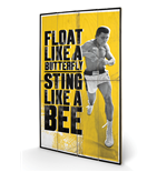 Muhammad Ali - Float Like A Butterfly (Stampa Su Legno 76x45cm)