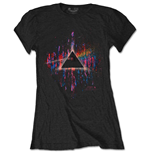 T-shirt Pink Floyd da donna - Design: Dark Side of the Moon Pink Splatter