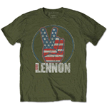 T-shirt John Lennon da uomo - Design: Peace Fingers US Flag
