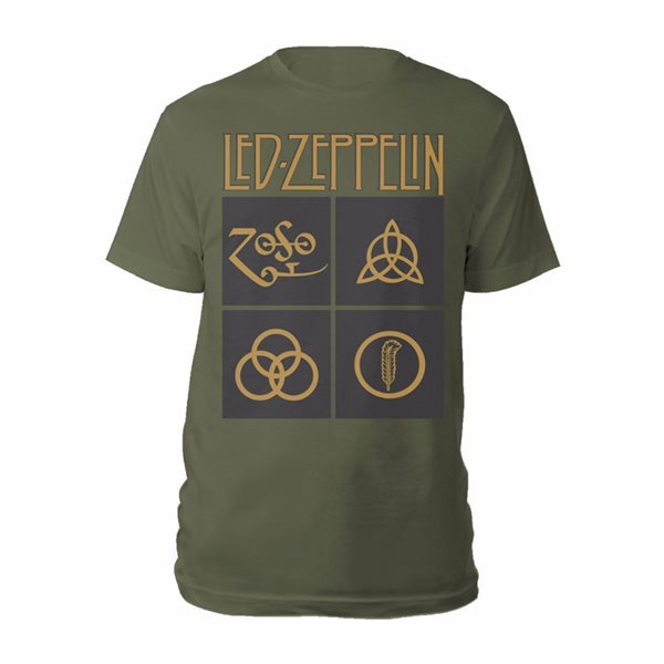 T-shirt Led Zeppelin GOLD SYMBOLS & BLACK SQUARES