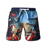 MARVEL: Captain America Swimshort Blue With Frontside Avengers Print (costume Da Bagno Uomo )