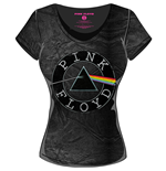 Pink FLOYD: Acid Wash Vintage Circle Logo Black Grey (T-SHIRT Donna )