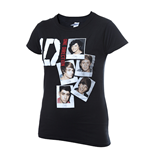 One DIRECTION: Skinny Fit Photo Stack Black (T-SHIRT Donna )