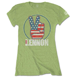 T-shirt John Lennon da donna - Design: Peace Fingers US Flag