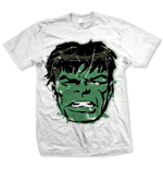 MARVEL: Hulk Big Head Distressed Bianco (T-SHIRT Unisex )