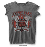 Johnny CASH: Ring Of Fire Grey (T-SHIRT Donna )