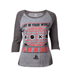 PLAYSTATION: Female Raglan Baseball Grey (T-SHIRT Donna )