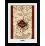 Harry Potter: Marauders Map (30Mm Black) (Stampa In Cornice 50x70 Cm)