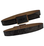 AC/DC: Black Leather With Inlay Buckle (cintura )