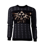 NINTENDO: Legend Of Zelda (THE) - TRI-FORCE Glitter Christmas Black (felpa Donna )