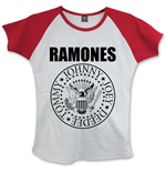 RAMONES: Presidential Seal WHITE,RED (T-SHIRT Donna )