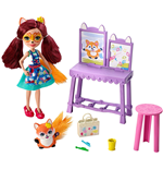 Mattel GBX03 - Enchantimals - Playset Bambola E Amici Cuccioli Art Studio