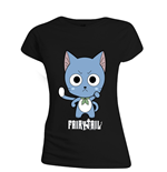 Fairy TAIL: Happy High Five Black (T-SHIRT Donna )