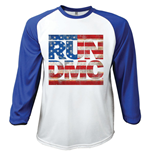 Run DMC: RAGLAN/BASEBALL Americana Large White Blue (T-SHIRT Unisex )