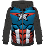 MARVEL: AVENGERS: Captain America Sublimated Black (felpa Con Cappuccio Unisex )