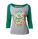 Teenage Mutant Ninja TURTLES: Pizza Raglan Baseball Grey (maglia Donna )